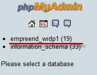 phpmyadmin base de dados